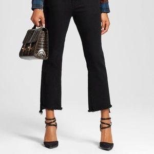 Who What Wear BlackCrop Step Raw Hem Jeans Sz 14